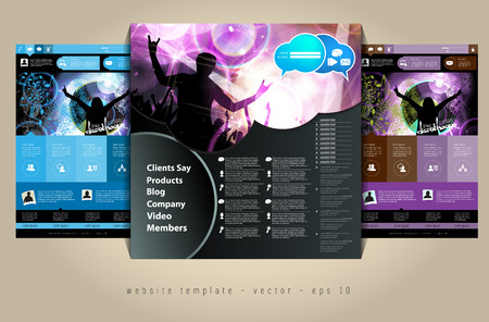 web portal: Website design template, music event vector   Illustration
