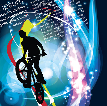tire cover: BMX cyclist, vector Illustration