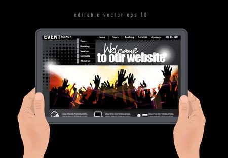 clubing: web design template, vector  Illustration