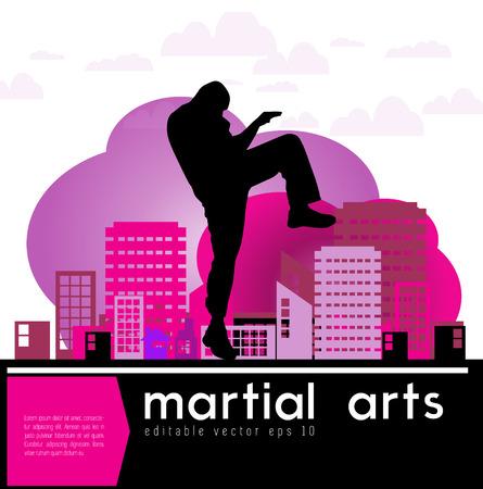 sidekick: Karate kick  Vector illustration