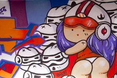 asbo: SINGAPORE - JULY 24  Graffiti Wall next to a Singapore Art Museum on July 24, 2014 in Singapore