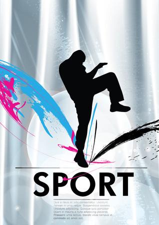 Karate kick  Vector illustration  Vector
