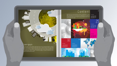 evening newspaper: Magazine layout  Vector Illustration