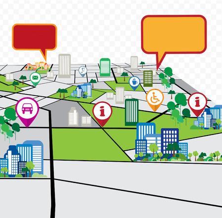 Abstract city map illustration  Vettoriali