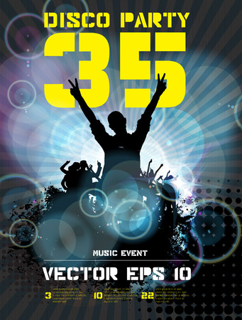 clubing: Poster for music event or disco party. Crowd at the music concert. Vector