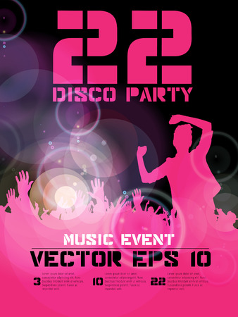 clubing: Poster for music event or disco party. Crowd at the music concert. Vector  Illustration