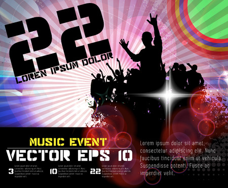 slovenly: Music event illustration. Background for new year poster party, vector