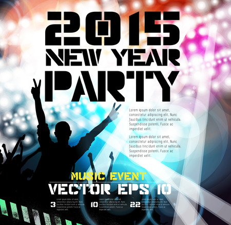 clubing: Music poster background with dancing people, vector  Illustration