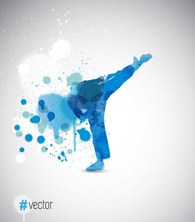 karate kick: Karate kick. Vector illustration