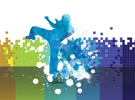 kyokushin: Combat, karate illustration, vector