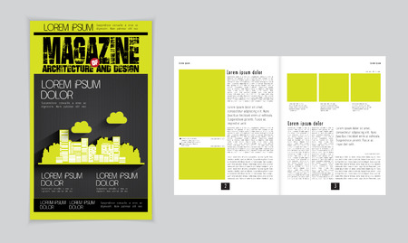 evening newspaper: Cover and magazine layout. Vector