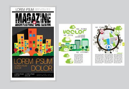 evening newspaper: Magazine layout. Vector Illustration