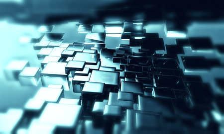 toned: abstract 3d cubes background in blue toned