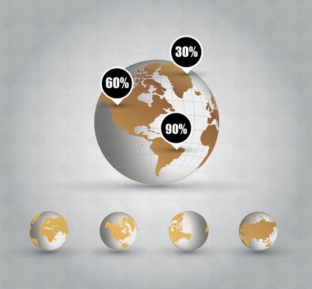 gold globe: Gold globe, vector Illustration
