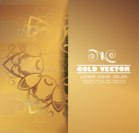 shone: Gold background with floral ornaments, vector