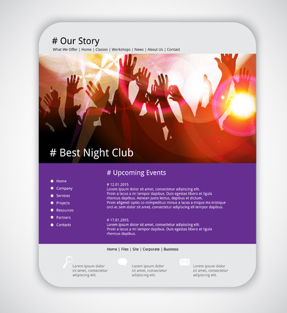Website template with music event banner. Vector Vector