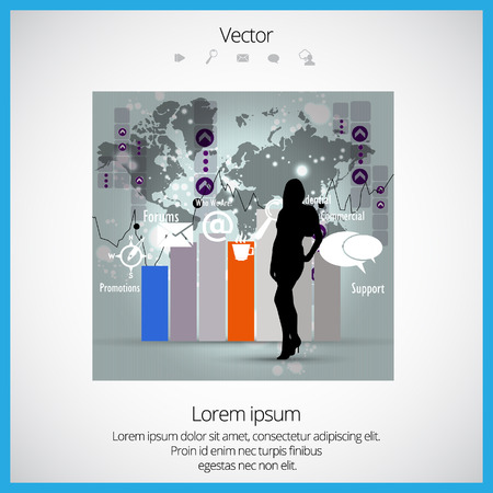 financial adviser: Business woman with financial charts Illustration