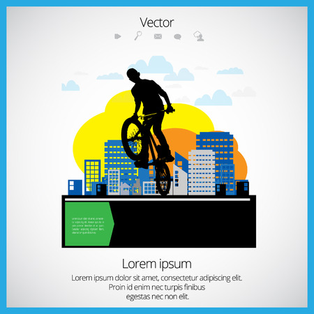 one wheel bike: Vector image of BMX cyclist