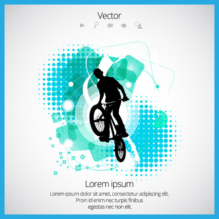 sports backgrounds: Vector image of BMX cyclist