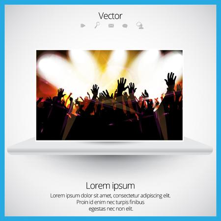 applauding: Dancing people. Concert. Vector Illustration