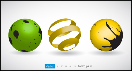 3D Spherical Logo Elements Vector