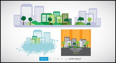 headquarter: Set of cityscape backgrounds Illustration