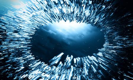 atomic center: Blue explosion background