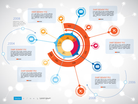 ESTADISTICAS: Cronología Infografía, Vector plantilla de diseño