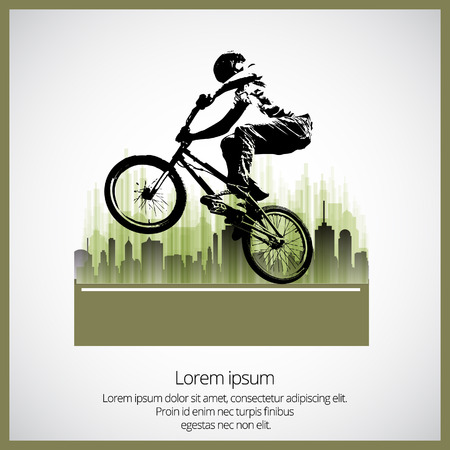 bmx: Vector image of BMX cyclist