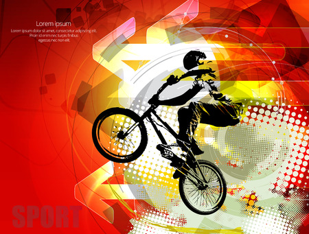 one wheel bike: Vector image of BMX cyclist