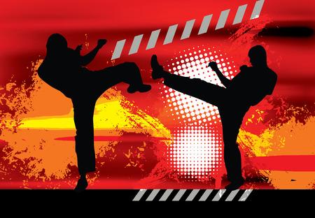 karate fighter: Illustration of karate. Vector