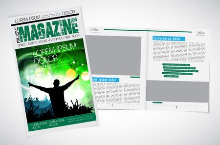open magazine: Magazine layout. Editable vector