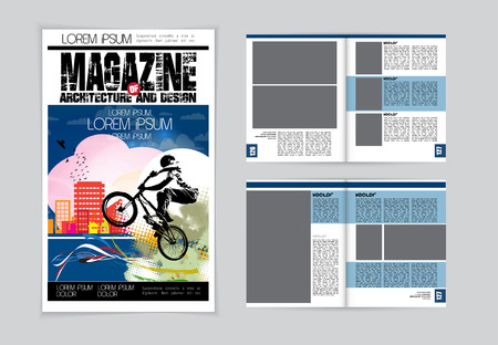 magazine page: Magazine layout. Editable vector