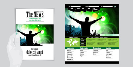 Layout magazine and website. Editable vector photo
