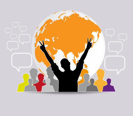 talc: Concept of business social networking and communication Stock Photo