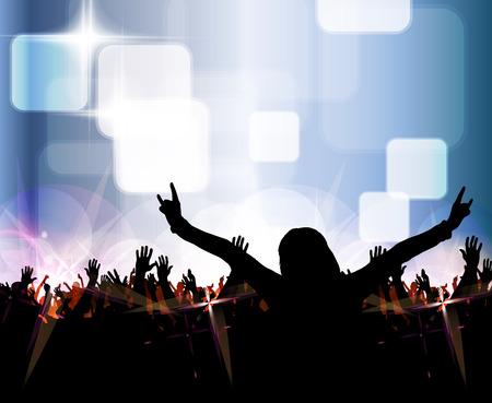 Silhouetten van concert publiek