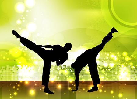 self training: Martial arts fighter. Vector Illustration