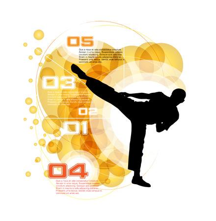 patada: Luchador de artes marciales. Vector Vectores