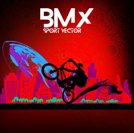 biking glove: BMX rider. Sports vector
