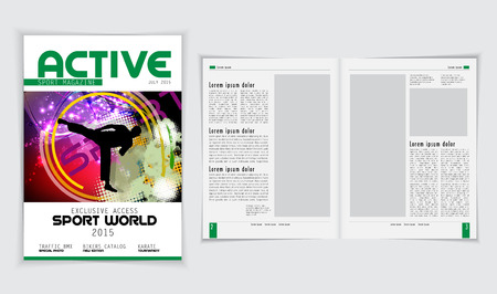 magazine layout design template: Magazine layout, vector