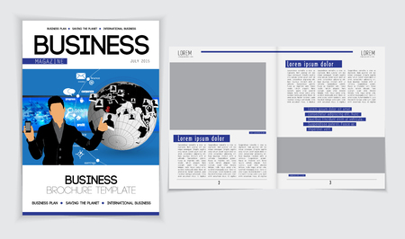 lay-out: Business magazine layout. Editable vector Stock Illustratie
