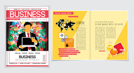 open magazine: Business magazine layout. Editable vector Illustration
