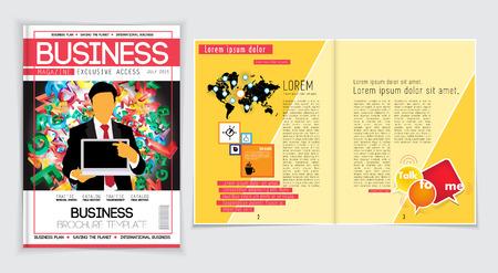 Business magazine layout. Editable vector Vettoriali