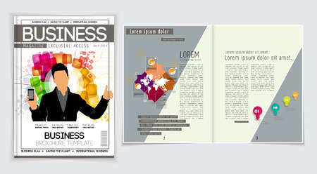 the layout: Business magazine layout. Editable vector Illustration
