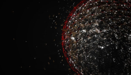 hundreds and thousands: 3d explosion background Stock Photo