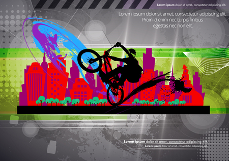 mtb: BMX biker. Vector