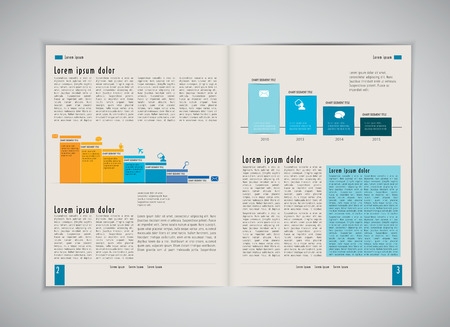 lay-out: Business magazine layout, vector Stock Illustratie