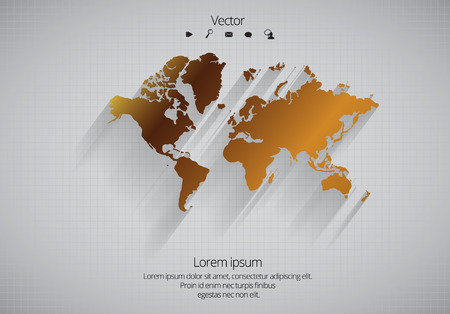 pacific: World map. Vector