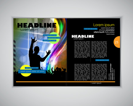 the layout: Magazine layout. Editable vector