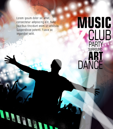 event party: Disco party. Music event background for poster or banner